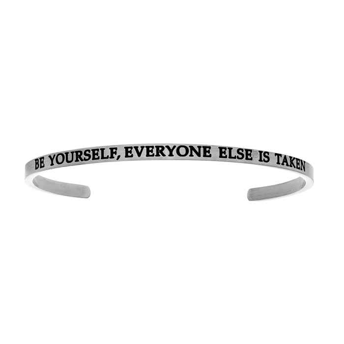 "Silver ""BE YOURSELF, EVERYONE ELSE IS TAKEN"" Bangle Bracelet, 8 I"