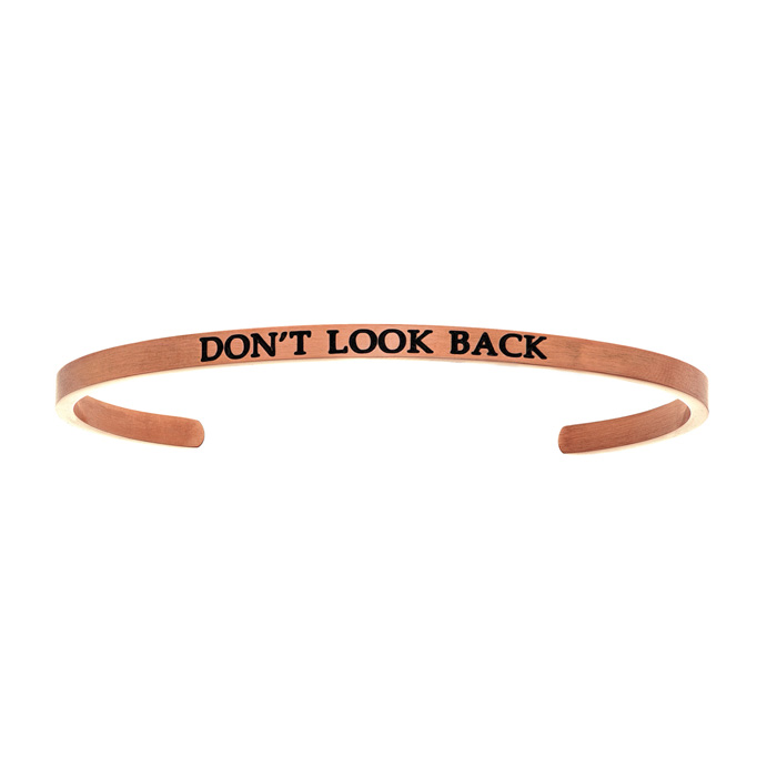 "Rose Gold ""DONT LOOK BACK"" Bangle Bracelet, 8 Inch by SuperJewele"