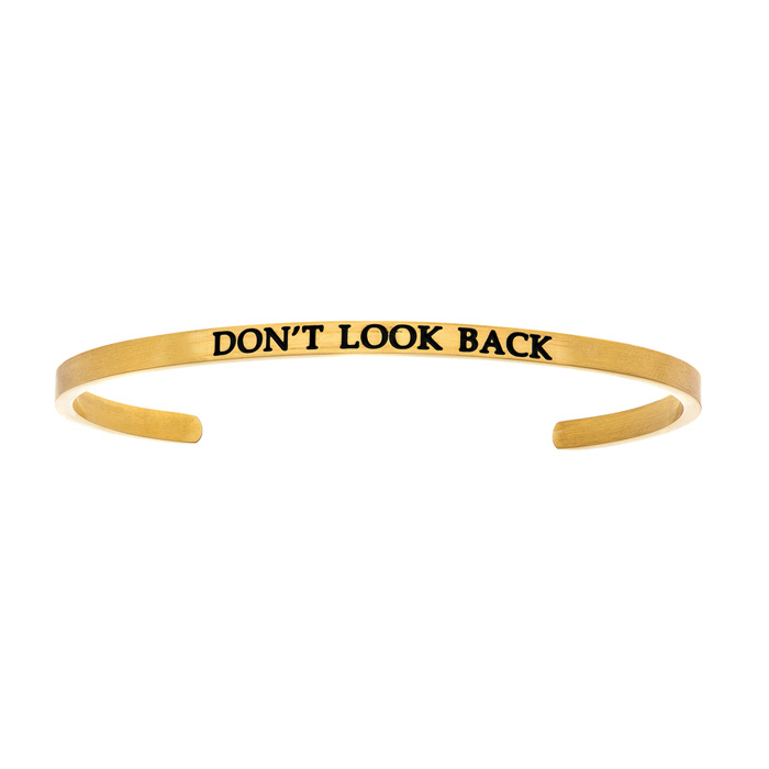"Yellow Gold ""DONT LOOK BACK"" Bangle Bracelet, 8 Inch by SuperJewe"
