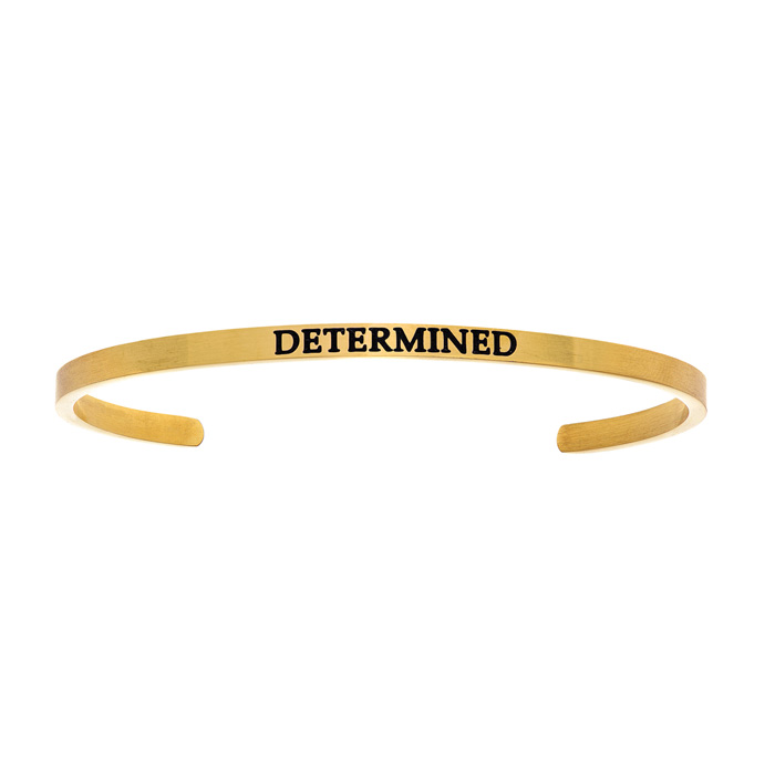 "Yellow Gold ""DETERMINED"" Bangle Bracelet, 8 Inch by SuperJeweler"