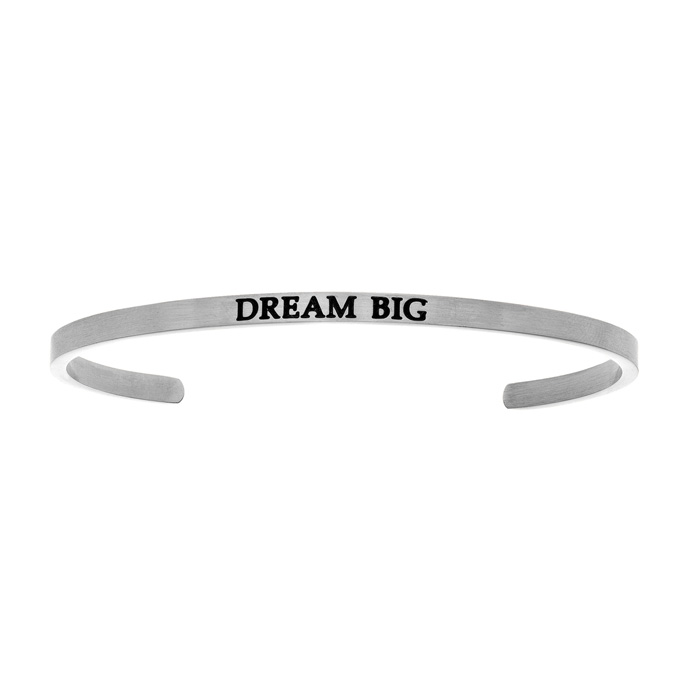 "Silver ""DREAM BIG"" Bangle Bracelet, 8 Inch by SuperJeweler"