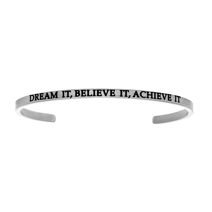 "Silver ""DREAM IT, BELIEVE IT, ACHIEVE IT"" Bangle Bracelet, 8 Inch"
