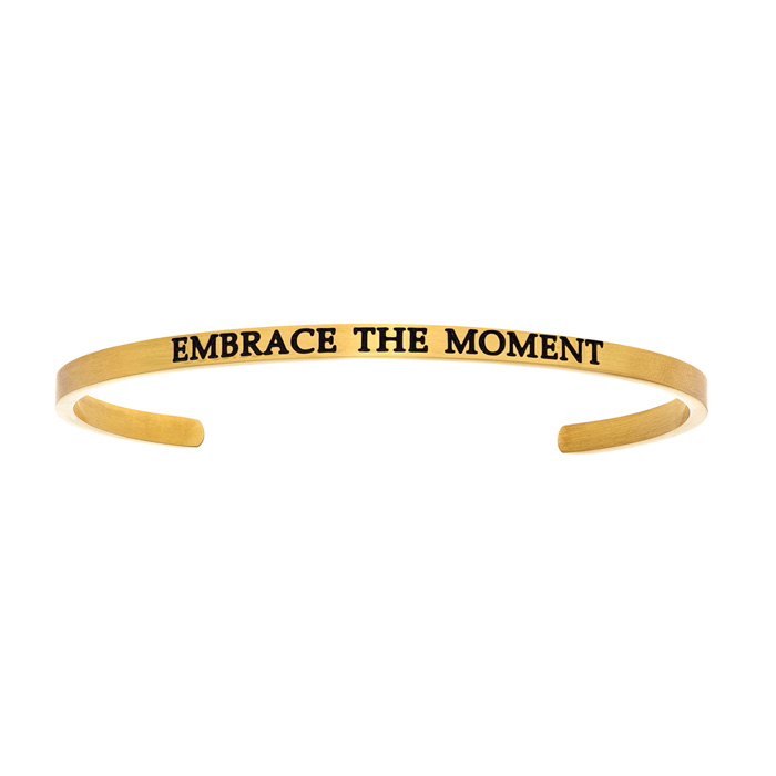 "Yellow Gold ""EMBRACE THE MOMENT"" Bangle Bracelet, 8 Inch by Super"