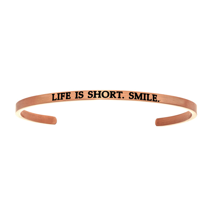 "Rose Gold ""LIFE IS SHORT. SMILE"" Bangle Bracelet, 8 Inch by Super"