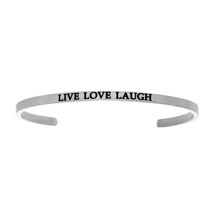 "Silver ""LIVE LOVE LAUGH"" Bangle Bracelet, 8 Inch by SuperJeweler"