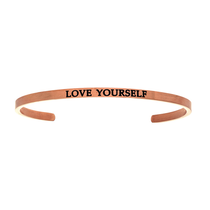 "Rose Gold ""LOVE YOURSELF"" Bangle Bracelet, 8 Inch by SuperJeweler"