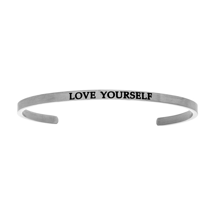 "Silver ""LOVE YOURSELF"" Bangle Bracelet, 8 Inch by SuperJeweler"