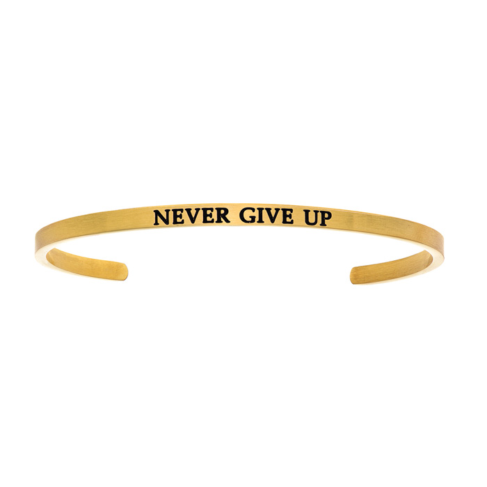 "Yellow Gold ""NEVER GIVE UP"" Bangle Bracelet, 8 Inch by SuperJewel"