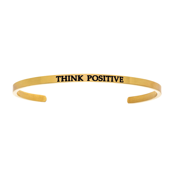 "Yellow Gold ""THINK POSITIVE"" Bangle Bracelet, 8 Inch by SuperJewe"