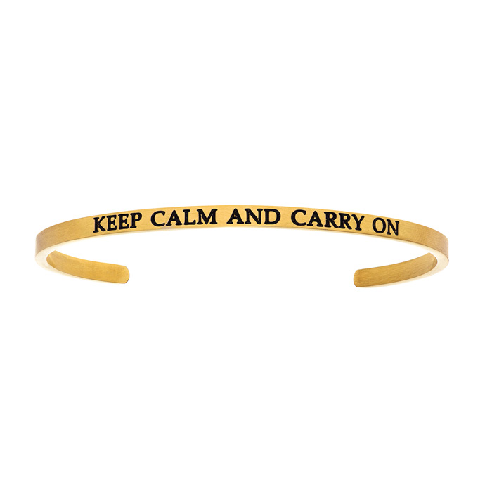 """Yellow Gold """"KEEP CALM & CARRY ON"""" Bangle Bracelet, 8 Inch by SuperJeweler"""