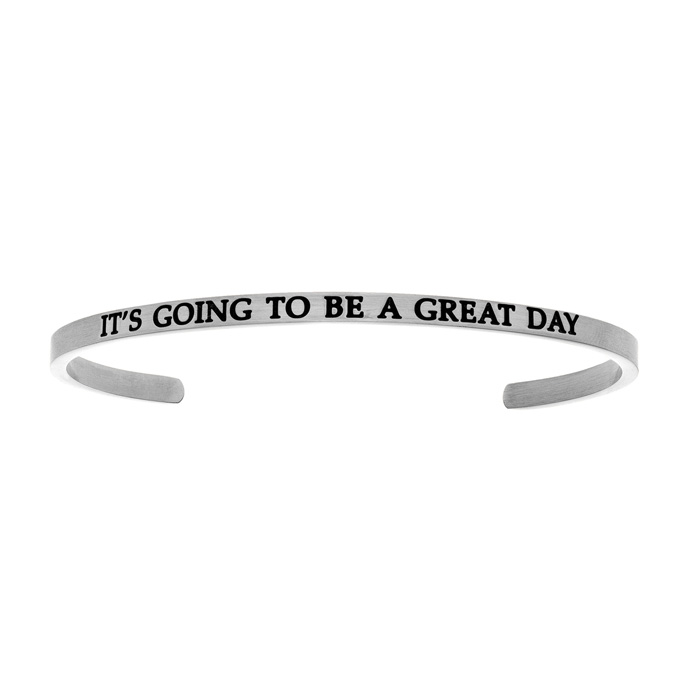 "Silver ""ITS GOING TO BE A GREAT DAY"" Bangle Bracelet, 8 Inch by SuperJeweler"