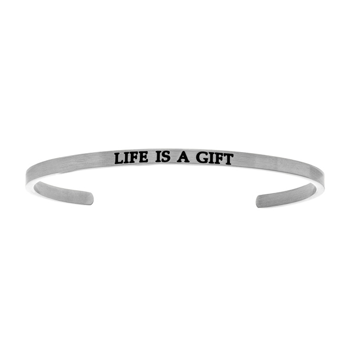 "Silver ""LIFE IS A GIFT"" Bangle Bracelet, 8 Inch by SuperJeweler"