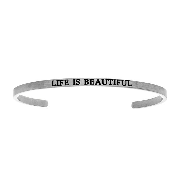 "Silver ""LIFE IS A BEAUTIFUL"" Bangle Bracelet, 8 Inch by SuperJewe"