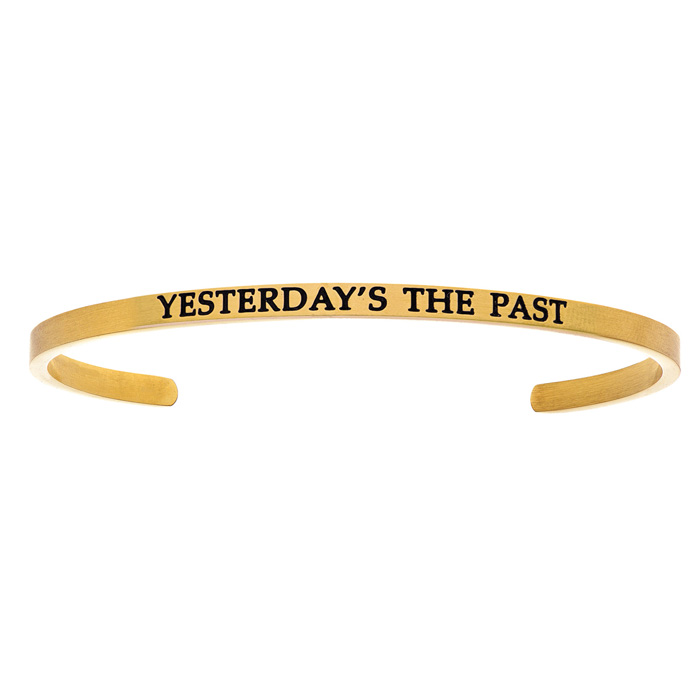 "Yellow Gold ""YESTERDAYS THE PAST"" Bangle Bracelet, 8 Inch by SuperJeweler"