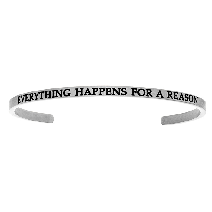 "Silver ""EVERYTHING HAPPENS FOR A REASON"" Bangle Bracelet, 8 Inch"