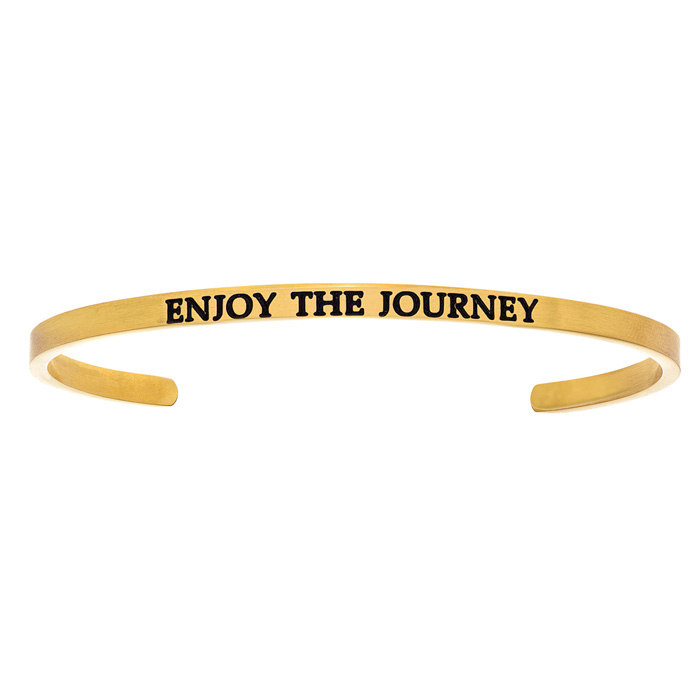 "Yellow Gold ""ENJOY THE JOURNEY"" Bangle Bracelet, 8 Inch by SuperJeweler"