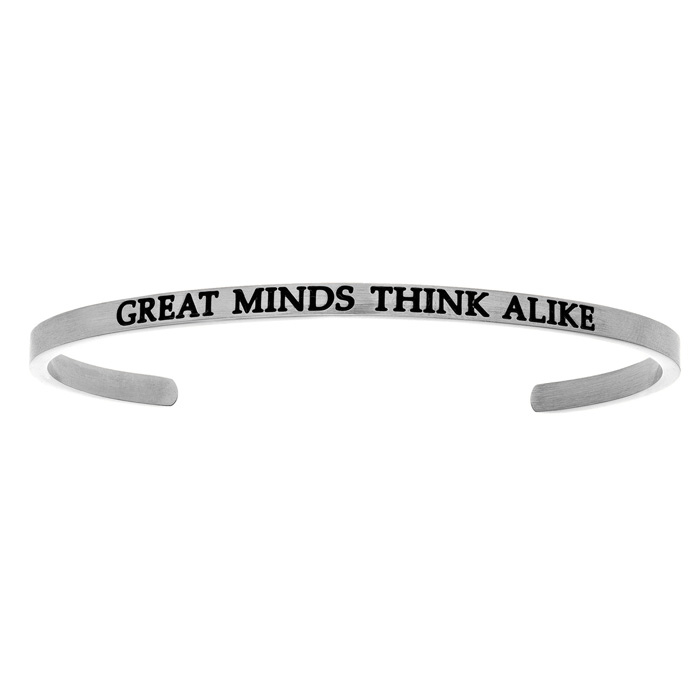 "Silver ""GREAT MINDS THINK ALIKE"" Bangle Bracelet, 8 Inch by Super"