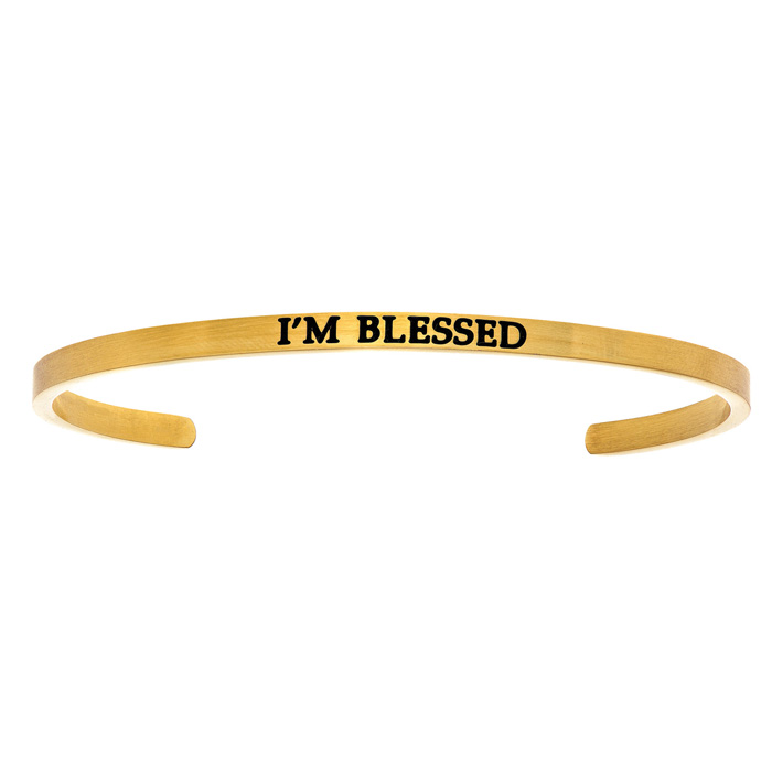 "Yellow Gold ""IM BLESSED"" Bangle Bracelet, 8 Inch by SuperJeweler"
