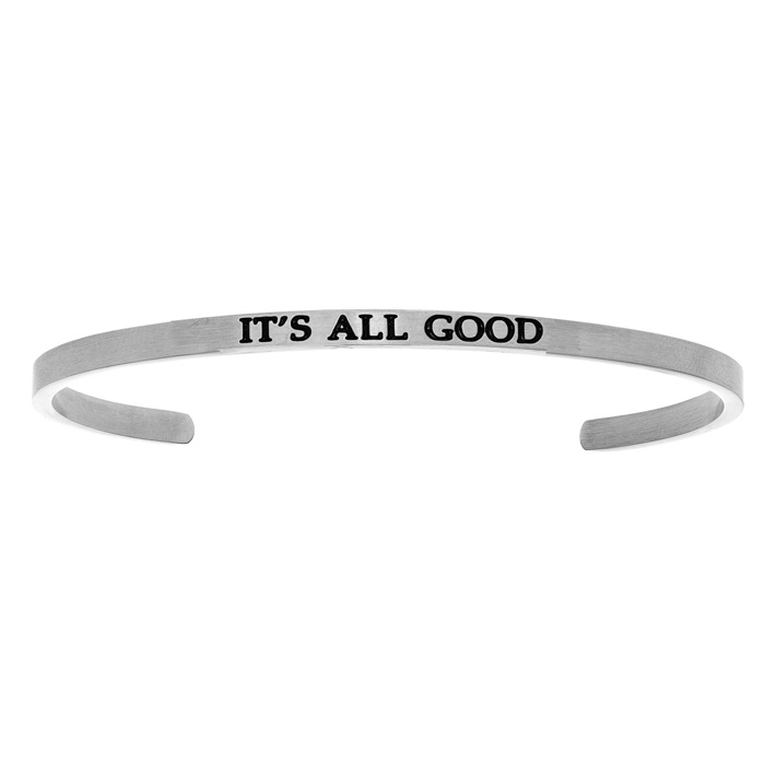 "Silver ""ITS ALL GOOD"" Bangle Bracelet, 8 Inch by SuperJeweler"