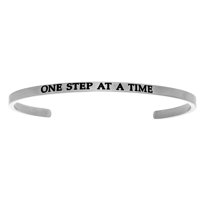 "Silver ""ONE STEP AT A TIME"" Bangle Bracelet, 8 Inch by SuperJewel"