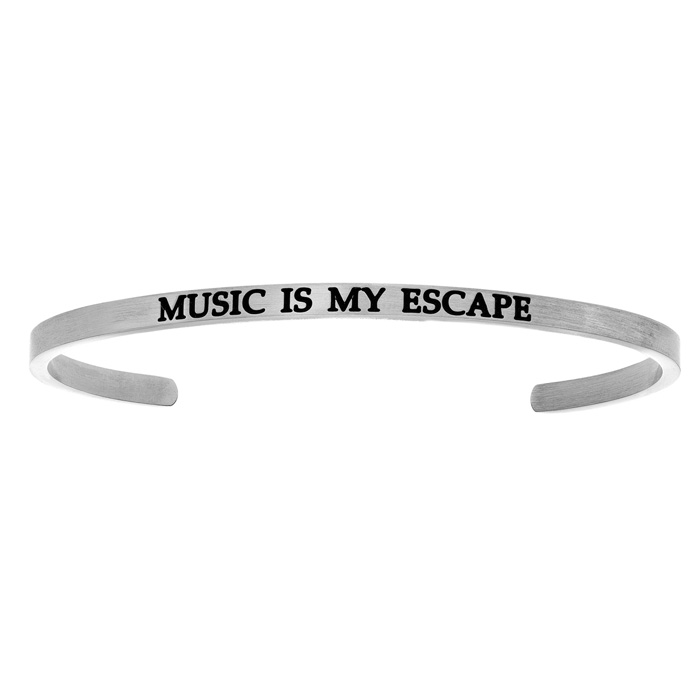 "Silver ""MUSIC IS MY ESCAPE"" Bangle Bracelet, 8 Inch by SuperJewel"