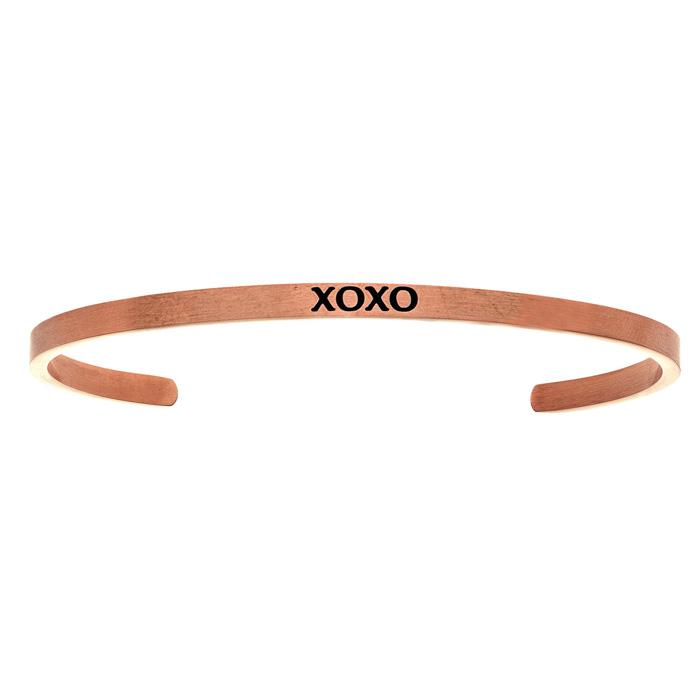 "Rose Gold ""XOXO"" Bangle Bracelet, 8 Inch by SuperJeweler"