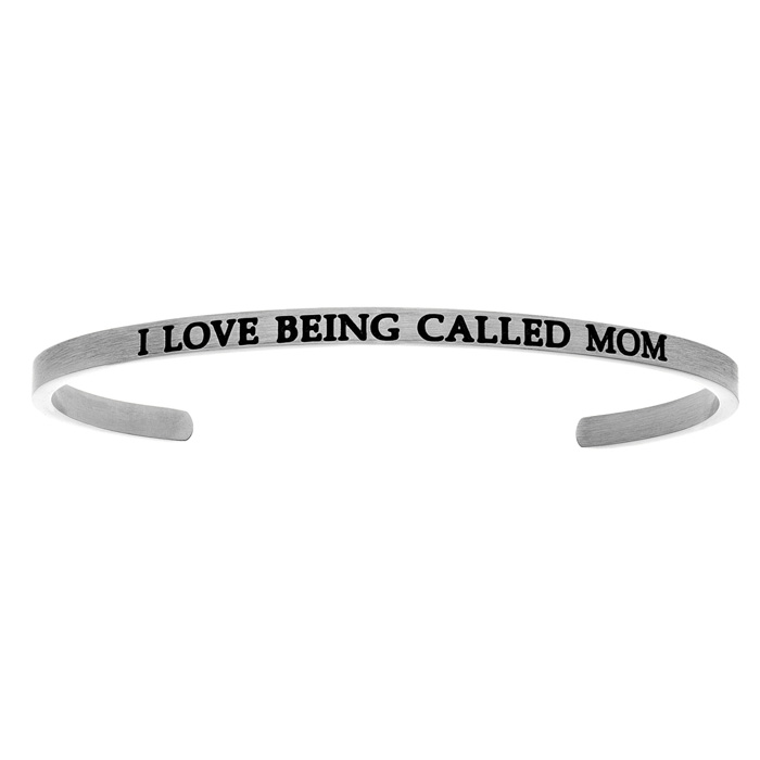 "Silver ""I LOVE BEING CALLED MOM"" Bangle Bracelet, 8 Inch by Super"