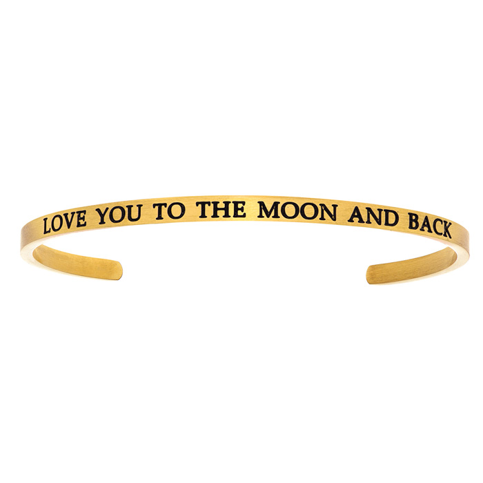 "Image of Yellow Gold ""LOVE YOU TO THE MOON AND BACK"" Bangle"