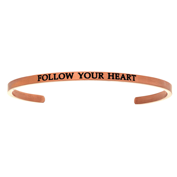 "Rose Gold ""FOLLOW YOUR HEART"" Bangle Bracelet, 8 Inch by SuperJew"