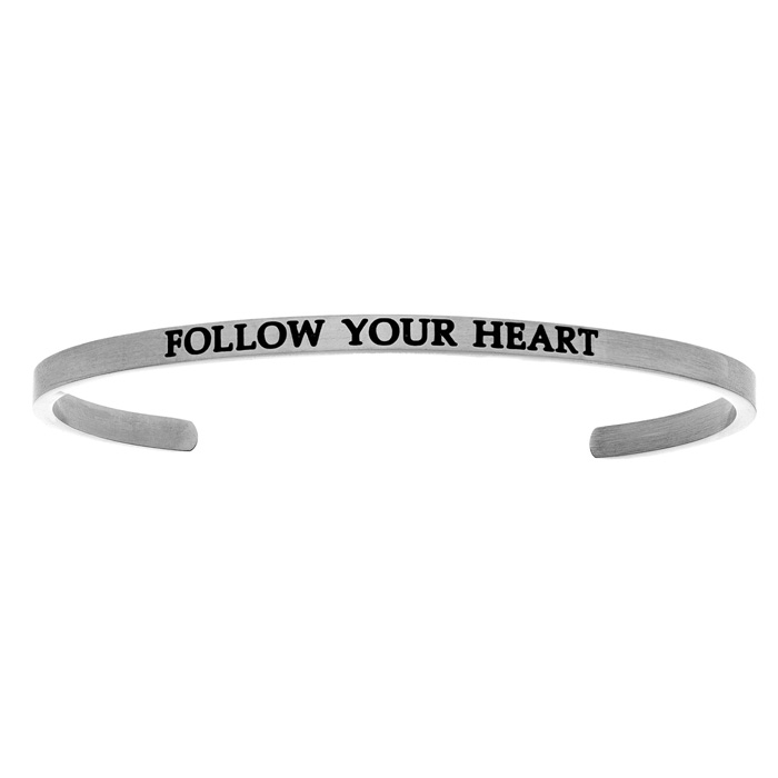 "Silver ""FOLLOW YOUR HEART"" Bangle Bracelet, 8 Inch by SuperJewele"