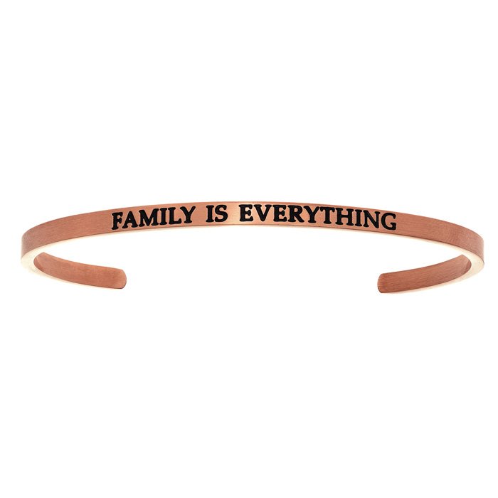 """Rose Gold """"FAMILY IS EVERYTHING"""" Bangle Bracelet, 8 Inch by SuperJeweler"""