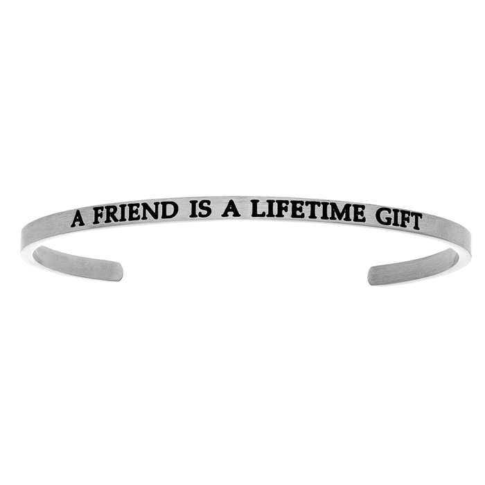 "Silver ""A FRIEND IS A LIFETIME GIFT"" Bangle Bracelet, 8 Inch by S"