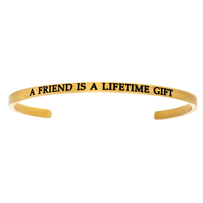 "Yellow Gold ""A FRIEND IS A LIFETIME GIFT"" Bangle Bracelet, 8 Inch"