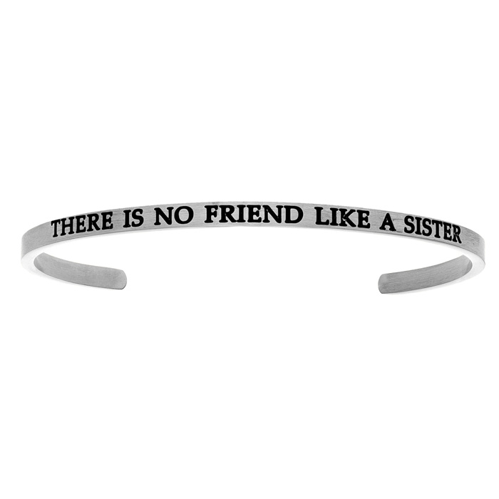 "Silver ""THERE IS NO FRIEND LIKE A SISTER"" Bangle Bracelet, 8 Inch"
