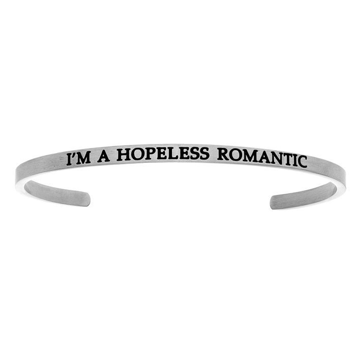 "Silver ""IM A HOPELESS ROMANTIC"" Bangle Bracelet, 8 Inch by SuperJeweler"