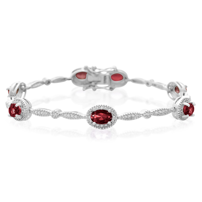 5 Carat Garnet & Diamond Bracelet, Platinum Overlay, 7 Inches, J/K by SuperJeweler