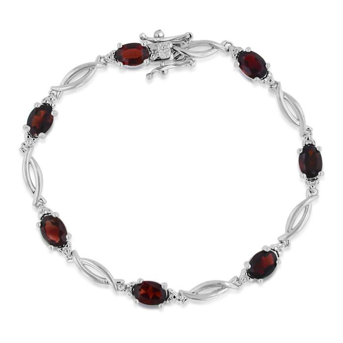 9 Carat Garnet & Diamond Bracelet, Platinum Overlay, 7 Inches, J/
