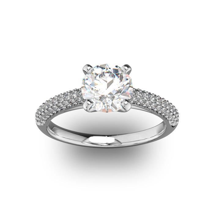 14K White Gold (3.9 g) 2 Carat Classic Round Diamond Engagement Ring (