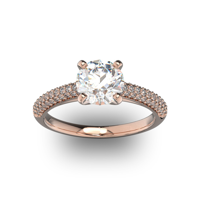 14K Rose Gold (3.9 g) 2 Carat Classic Round Diamond Engagement Ring (