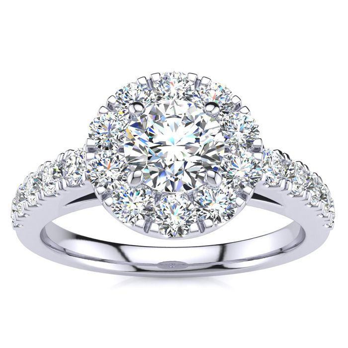 1 Carat Floating Halo Round Diamond Engagement Ring in 14K White