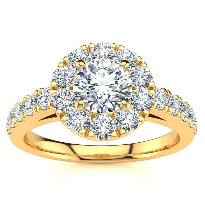 14K Yellow Gold (4.3 g) 1 Carat Classic Round Halo Diamond Engage