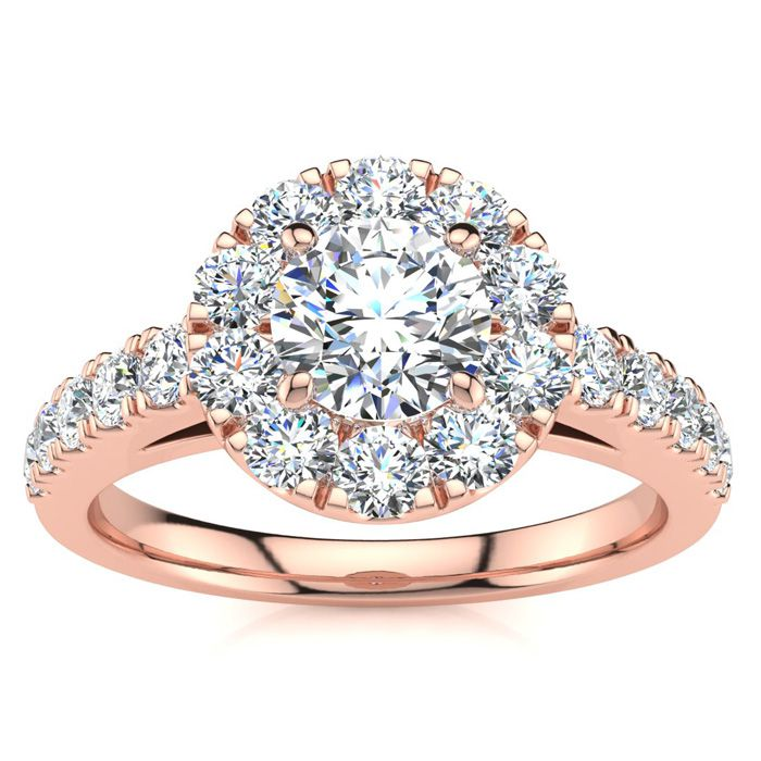 Image of 14 Karat Rose Gold 1 Carat Classic Round Halo Diamond Engagement Ring