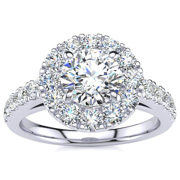 14K White Gold (5 g) 1 1/3 Carat Classic Round Halo Diamond Engag