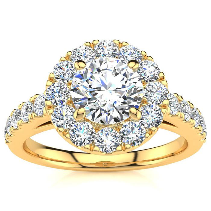 14K Yellow Gold (5 g) 1 1/3 Carat Classic Round Halo Diamond Enga