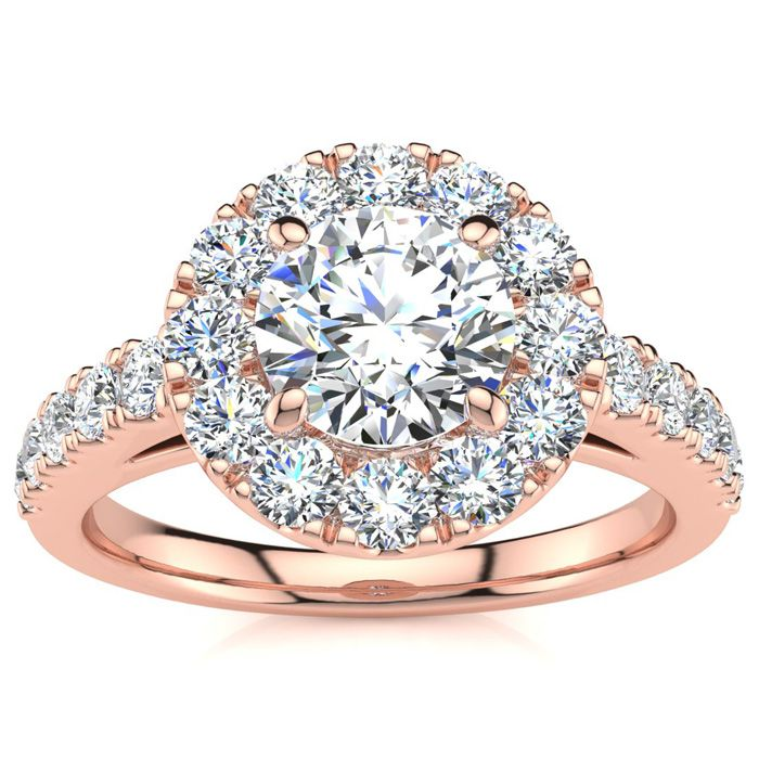 14K Rose Gold (5 g) 1 1/3 Carat Classic Round Halo Diamond Engage