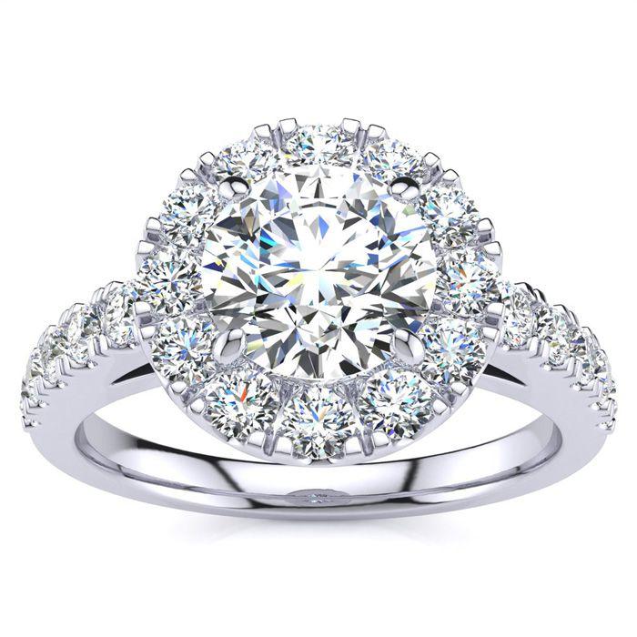14K White Gold (6 g) 1.5 Carat Classic Round Halo Diamond Engagem