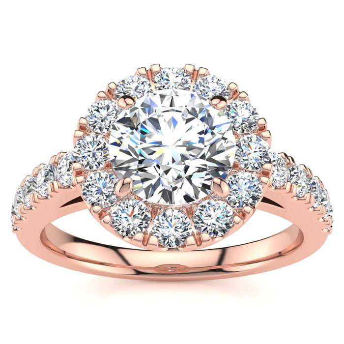 14K Rose Gold (6 g) 1.5 Carat Classic Round Halo Diamond Engageme