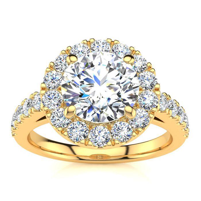 14K Yellow Gold (6.5 g) 2 1/4 Carat Classic Round Halo Diamond En