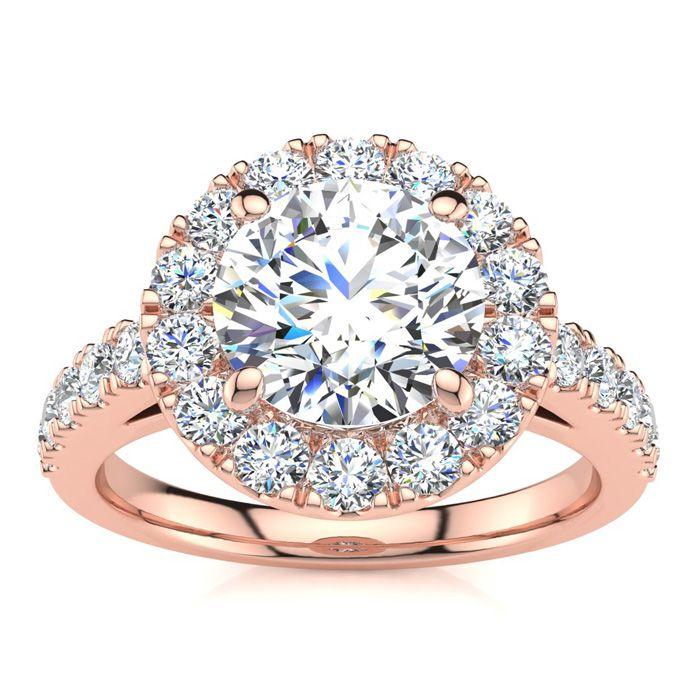 14K Rose Gold (6.5 g) 2 1/4 Carat Classic Round Halo Diamond Enga