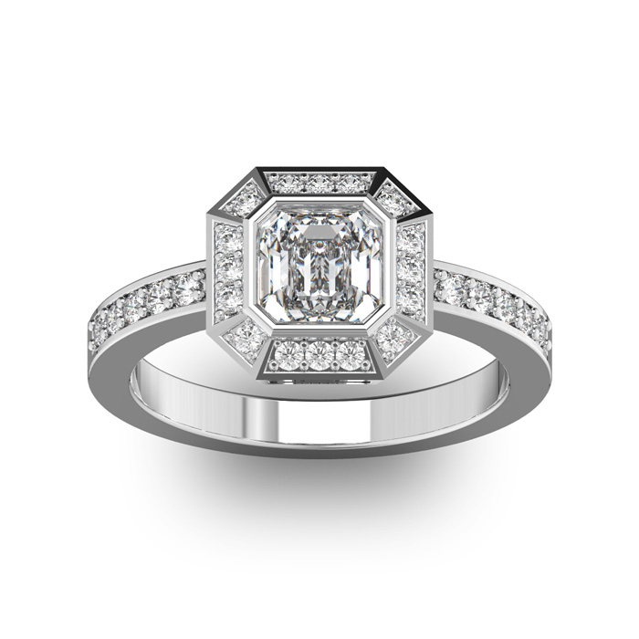 14K White Gold (5.2 g) 1 1/3 Carat Asscher Cut Halo Diamond Engag